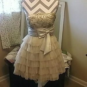 deb gold semi formal dress nwot