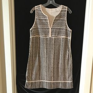 Madewell Embroidered Shift Dress Black Ivory M