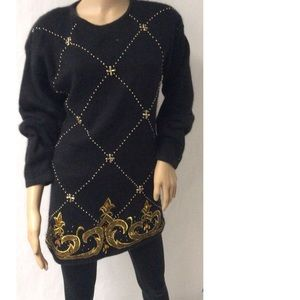 Black & Gold Vintage Sweater Size M