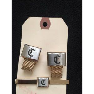 Vintage Monogram Cufflink and Tie Tack set
