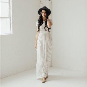 Babydoll maxi dress with pockets - Ivory/H Grey