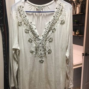 Lucky brand cream top with beads