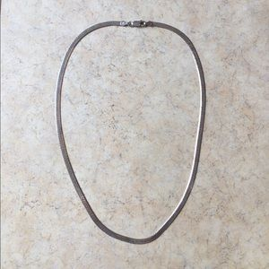 Thick sterling silver herringbone chain necklace