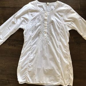J. Crew Cotton Silver Metallic Button Front Tunic