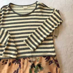 Anthropologie Postmark Grey Striped Floral Ginny