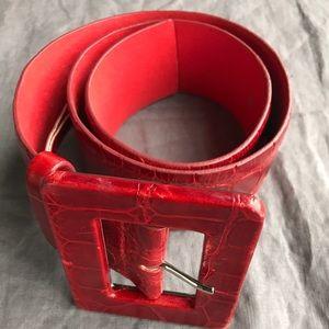 Alice + Olivia Red Leather Belt