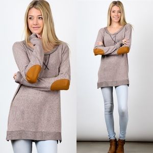 Tops - Long Sleeve Elbow Patch Tunic Top