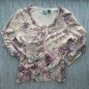 Anthropologie Floral Print Cardigan