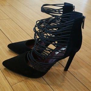 BCBGeneration Black Suede Strappy heels