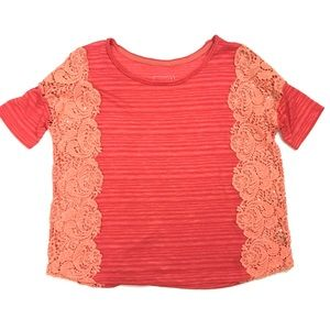 Free People striped tee with lace side panels