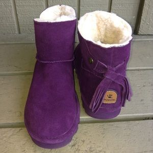 Purple Bear Paw Short Ankle Boots New Size 7