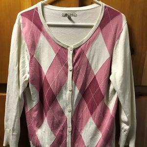 GH Bass Large Argyle Cardigan Pink Cream Button