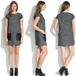 NEW Madewell SS Wool Sheath Dress leather pocket