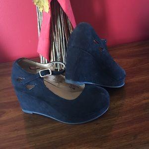 Girls black Wedge heels.