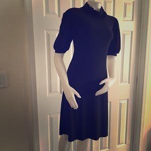 ABS Essentials Black Knit Turtleneck Dress S