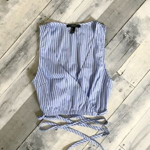 NWOT F21 striped wrap top
