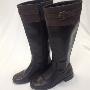 Brown Colorblock Knee High Riding Boots
