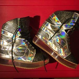 Jeffrey Campbell Irridescent Rodman Sneakers