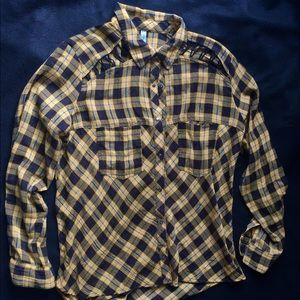 Fee People Flannel-look Button Up Shirt