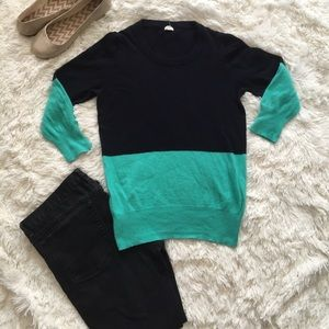 J. Crew colorblock merino wool blend crewneck S