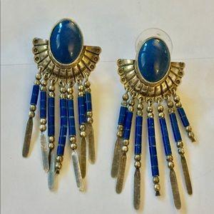Vintage Native Sterling silver lapis earrings
