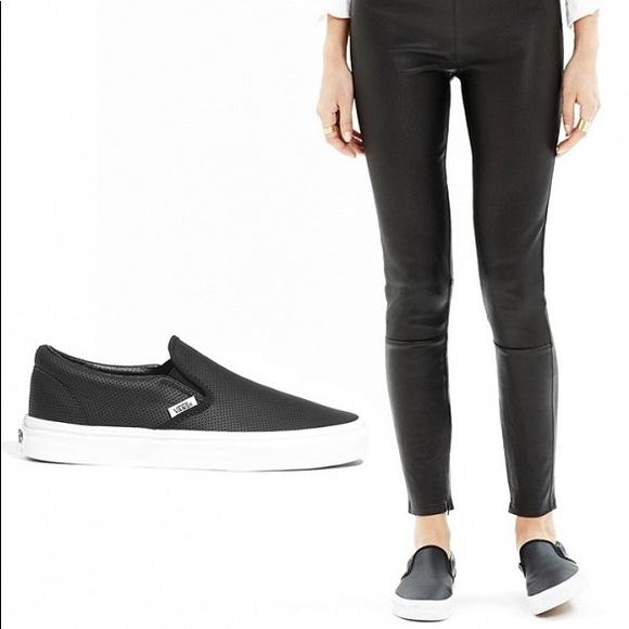52115a9943 Black Perf Leather Slip On Vans. M 59ca813c2599fe8dbd0c2a3e