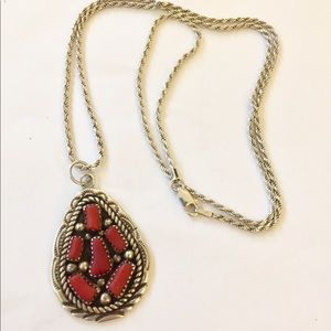 Vintage Native American Sterling coral necklace