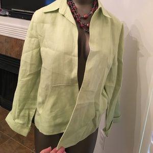 Talbots kiwi lined Irish linen open jacket sz 14