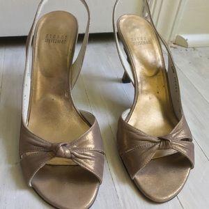 Stuart Weitzman gold sling back sandals