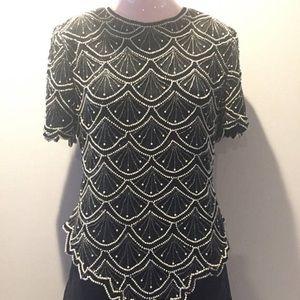 Laurence Kazar 100% silk beaded blouse