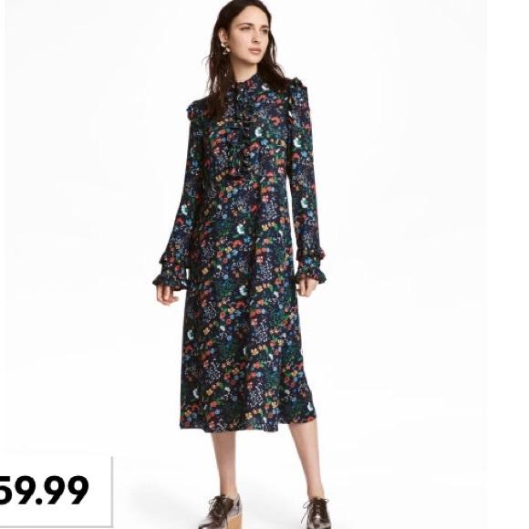 H M Dresses Nwt Hm Floral Midi Dress Poshmark