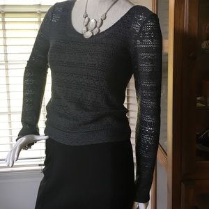 Tops - AEO Open-Knit Top with Lace-Front Tank Combo - M/S