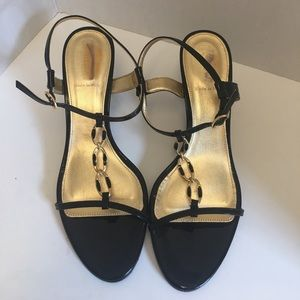 New J crew black and gold patent leather sandals