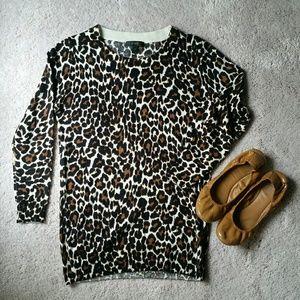 JCREW Merino Wool Cheetah Print Sweater XS