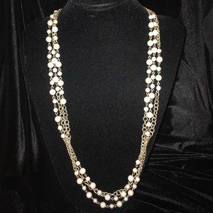 J.Crew gold chain cream colored pearl necklace