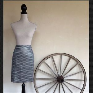 J. CREW Silver Gray Silk Wool Lined Pencil Skirt 6