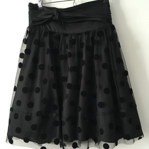 Black polka dot high waisted skirt