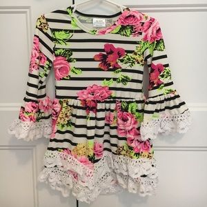 Other - NEW Floral Striped Dress 12-18mo