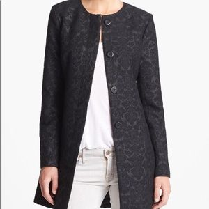 BB Dakota Collarless Black Textured Jacquard Coat
