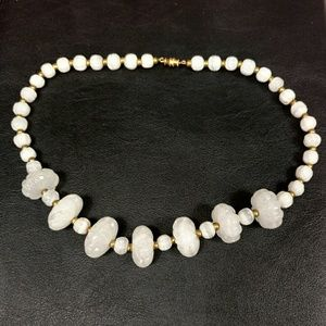 "Vintage white glass bead necklace 19"" long"