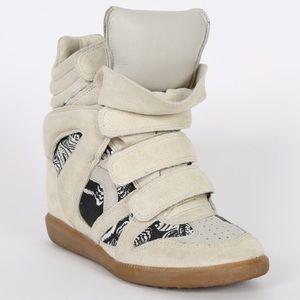 Isabel Marant Bekett Suede & Canvas Wedge Sneakers