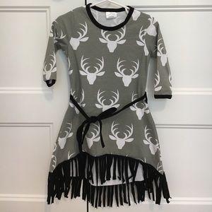 Other - NEW Deer Fringe High Low Dress