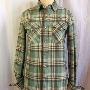 Ralph Lauren Green Stripe Plaid Flannel Shirt Top