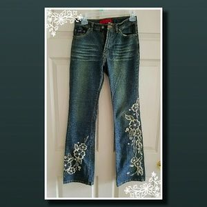 REDUCED AGAIN!  SOLID JEANS with Floral Stitching