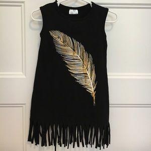 Other - NEW Black Feather Fringe Dress
