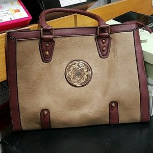 Brown and beige purse