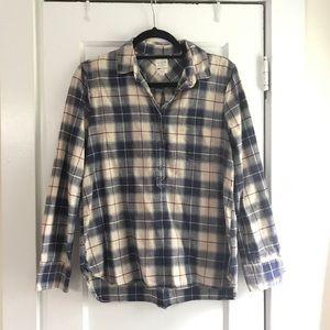J.Crew Plaid Cotton Linen Boyfriend Button Down