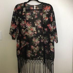 Tops - Floral Fringe Kimono