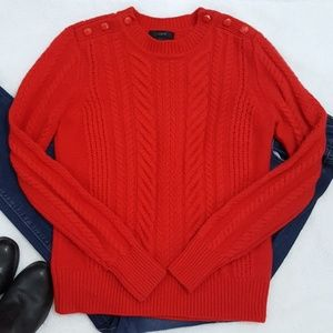 J. Crew Red Perfect Cable Sweater - Small