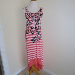 Kensie Split Hem Maxi Striped Floral XS